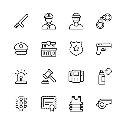 Police and Law Enforcement Line Icons. Editable Stroke. Pixel Perfect. For Mobile and Web. Contains such icons as Policeman, Policewoman, Thief, Handcuffs, Vest, Police Station, Gun, Law, Traffic, Prison, Car, Dog, Criminal, Security, Sheriff, Detective.