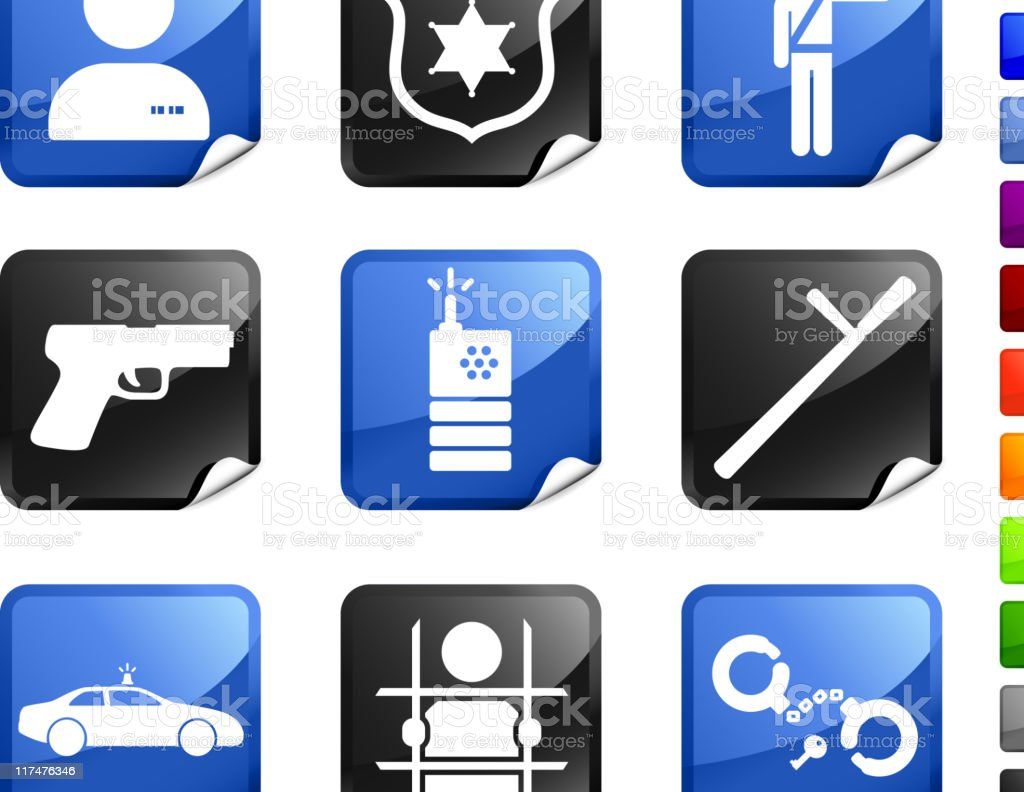 police and law enforcement nine royalty free vector icon set stock