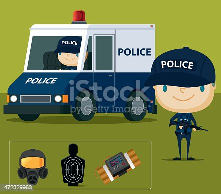 Police and law enforcement collection. Zip contains AI and hi-res jpeg.