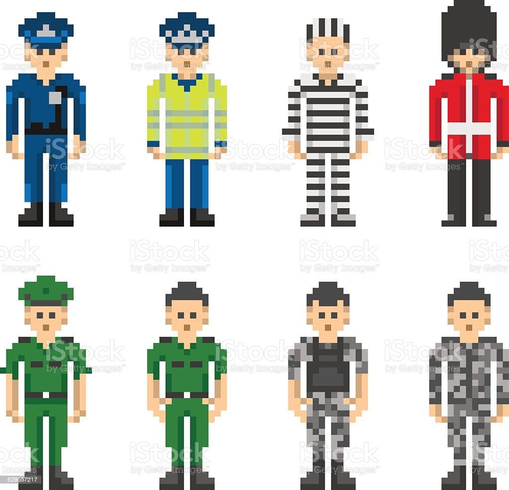 Polizei und Militär Menschen in Pixel-Art-Stil – Vektorgrafik