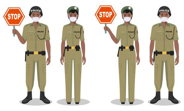 Police and quarantine concept. Couple of african policeman and policewoman in traditional uniforms and protective masks standing together on white background in flat style. Vector illustration. vector art illustration