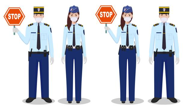 Police and quarantine concept. Couple of french policeman and policewoman in traditional uniforms and protective masks standing together on white background in flat style. Vector illustration. vector art illustration
