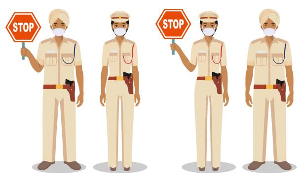 Police and quarantine concept. Couple of indian policeman and policewoman in traditional uniforms and protective masks standing together on white background in flat style. Vector illustration. vector art illustration