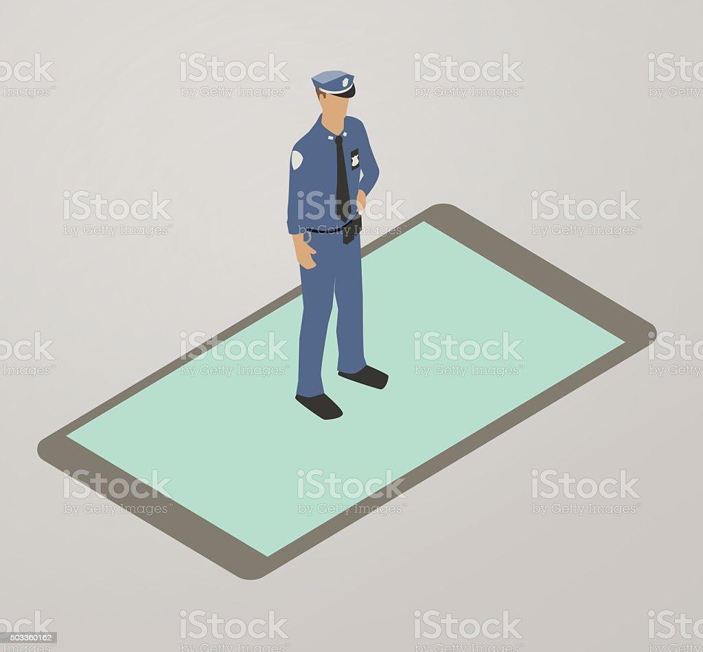 Police App Illustration Stock Illustration - Download Image