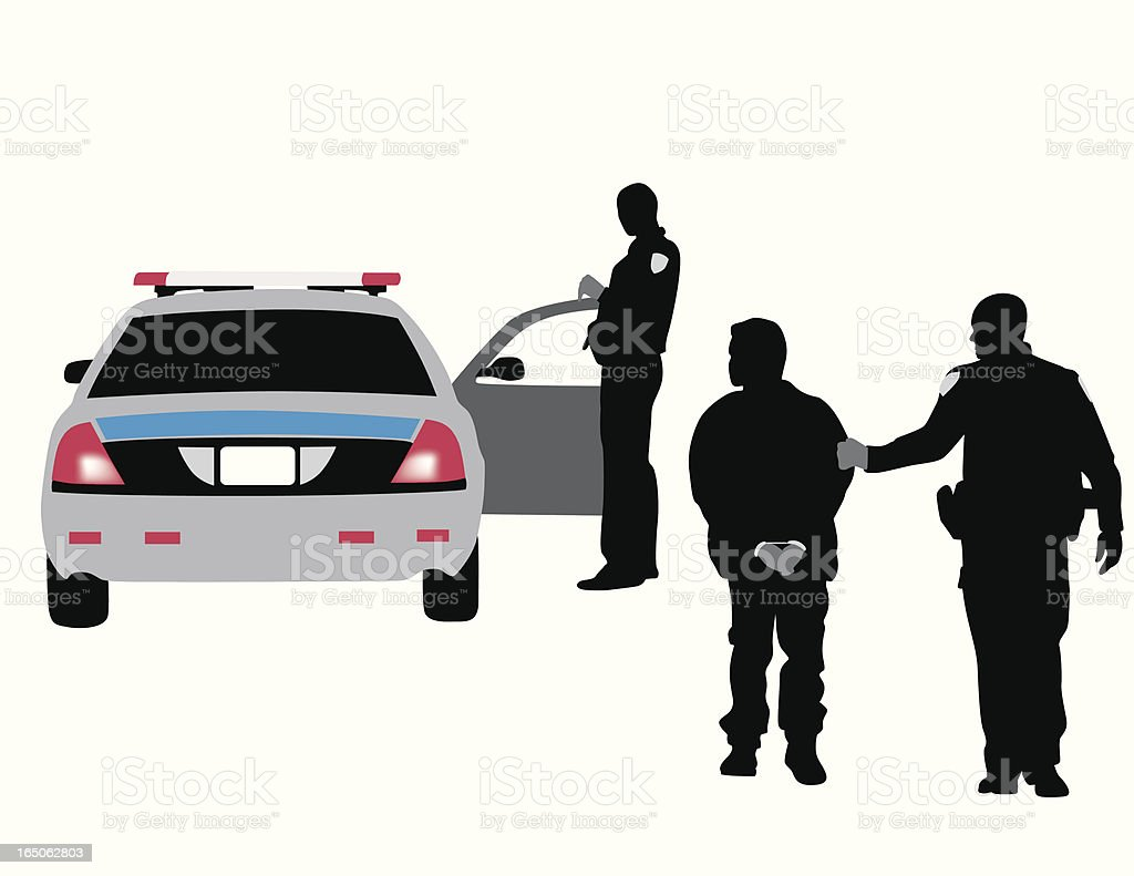 Police Arrest Vector Silhouette royalty-free police arrest vector silhouette stock vector art & more images of activity