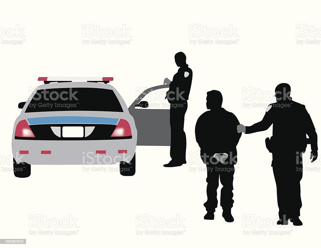 Police Arrest Vector Silhouette vector art illustration