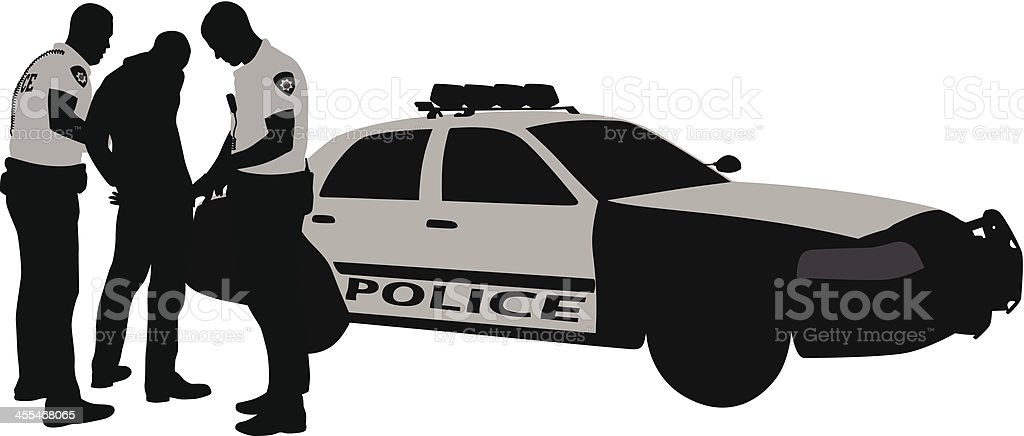 Police Arrest Vector Silhouette vector art illustration