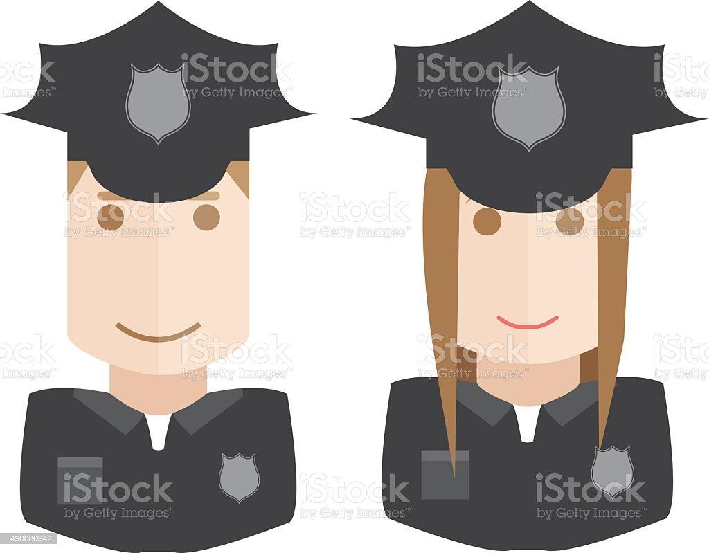 police avatars set vector art illustration