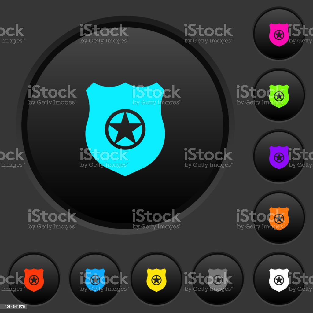 Police Badge Dark Push Buttons With Color Icons Stock Vector