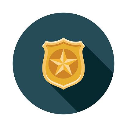 Police Badge Flat Design Crime & Punishment Icon