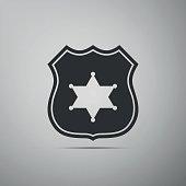 Police badge flat icon on grey background. Vector Illustration