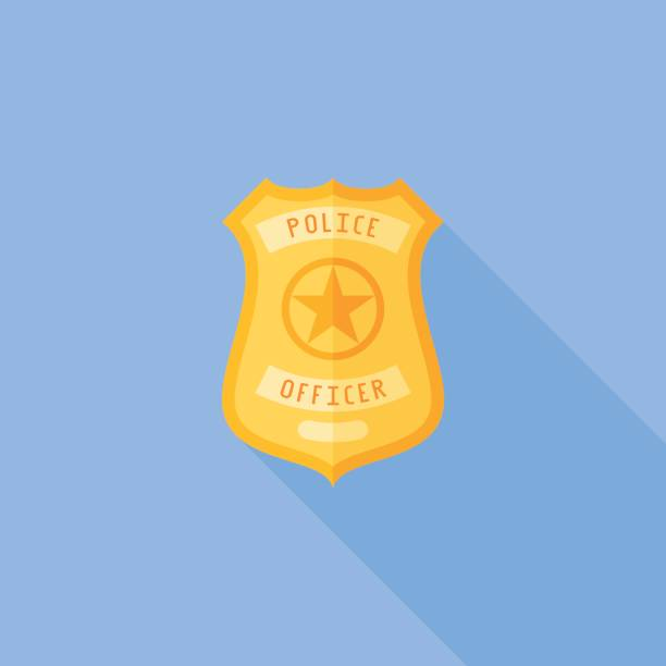 Police badge flat icon with long shadow vector art illustration