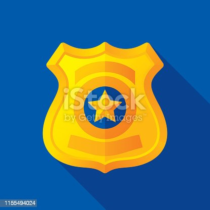Vector illustration of a gold police badge against a blue background in flat style.