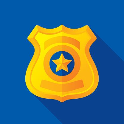 Police Badge Icon Flat