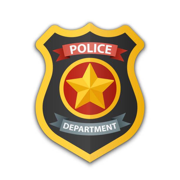 Polizeiabzeichen Ikone. Schild mit Stern, Vektordarstellung auf weißem Hintergrund – Vektorgrafik