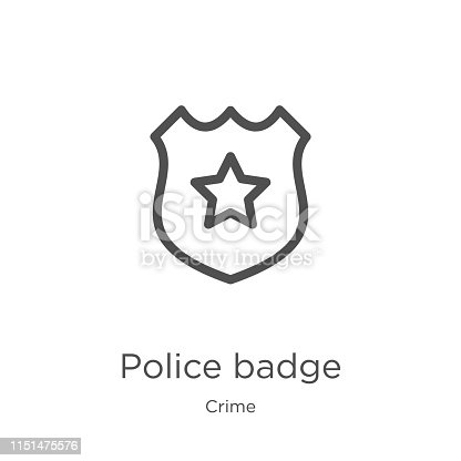police badge icon. Element of crime collection for mobile concept and web apps icon. Outline, thin line police badge icon for website design and mobile, app development