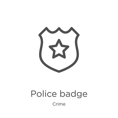 police badge icon vector from crime collection. Thin line police badge outline icon vector illustration. Outline, thin line police badge icon for website design and mobile, app development.