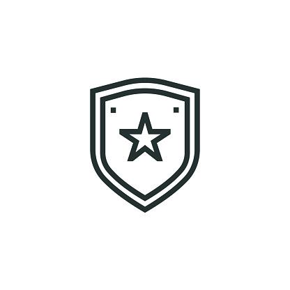 Police Badge Line Icon