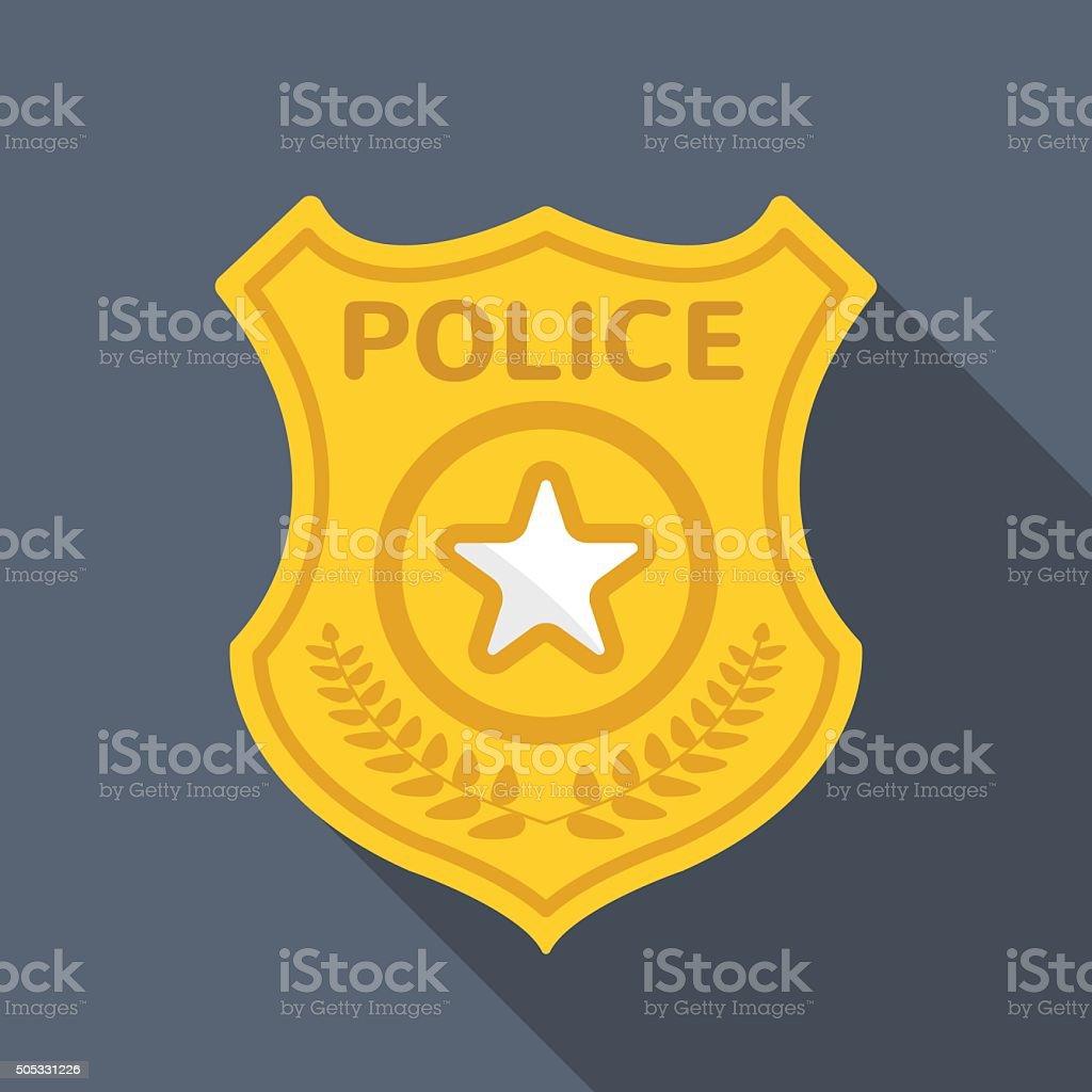 police badge long shadow vector flat icon stock vector art