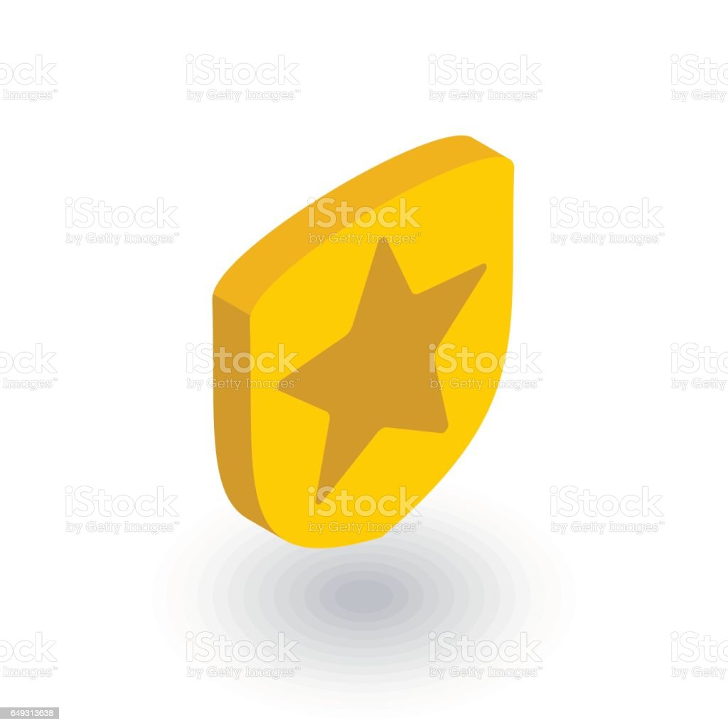 police badge whith star isometric flat icon 3d vector stock vector