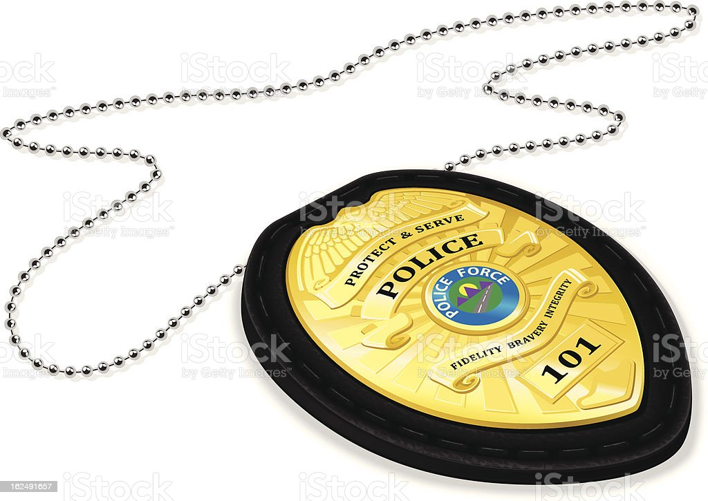 Police badge with chain in 3D vector vector art illustration