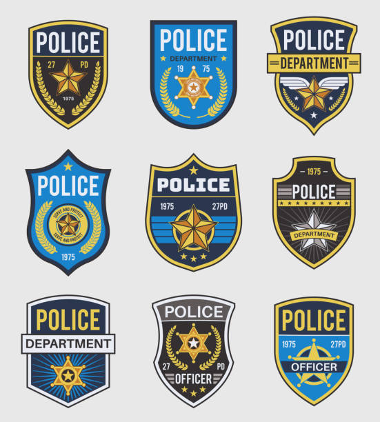 illustrazioni stock, clip art, cartoni animati e icone di tendenza di police badges. officer government badge, special police security medallion and federal agent signs, policeman insignia vector set - polizia