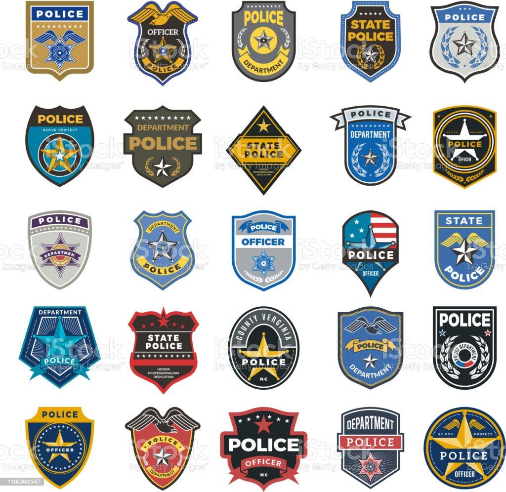 Insignes de police. L'agent fédéral de sécurité d'agent d'agent d'agent d'agent d'officier signe et symboles le logo de vecteur de protection de police - clipart vectoriel de Agence immobilière libre de droits