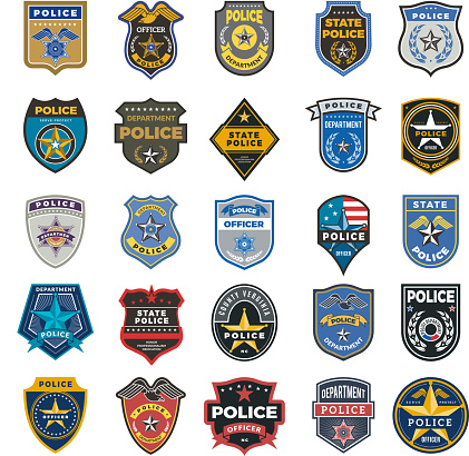 Police badges. Officer security federal agent signs and symbols police protection vector logo