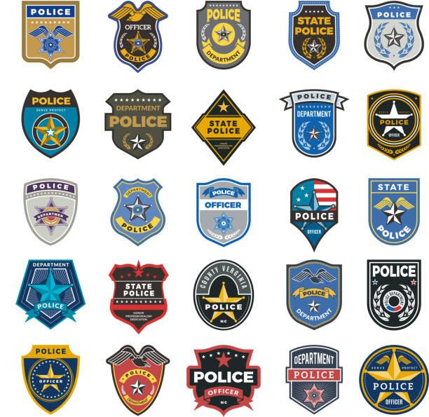 odznaki policyjne. oficer bezpieczeństwa federalnego agenta znaki i symbole policji ochrony wektor logo - insygnia stock illustrations