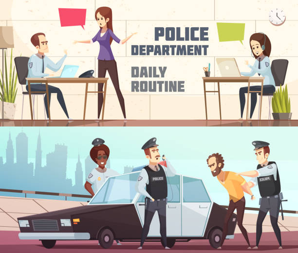 illustrations, cliparts, dessins animés et icônes de bannières de la police - dispatcheur