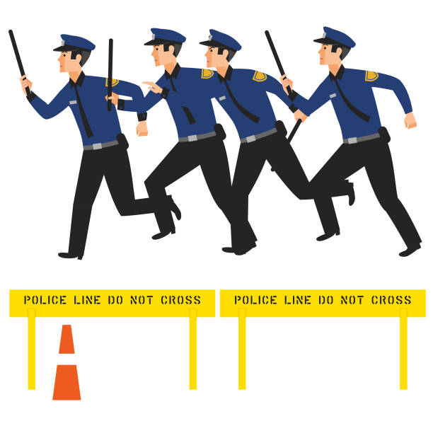 police baton charge - russelltatedotcom stock illustrations