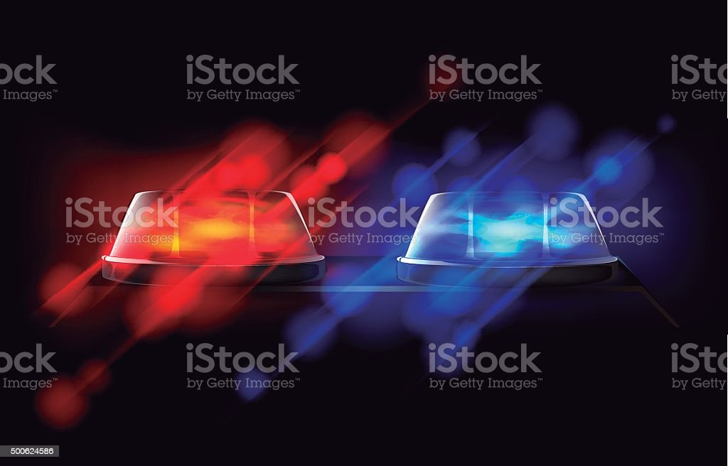 Police beacon. Red and blue emergency flashing siren. vector art illustration