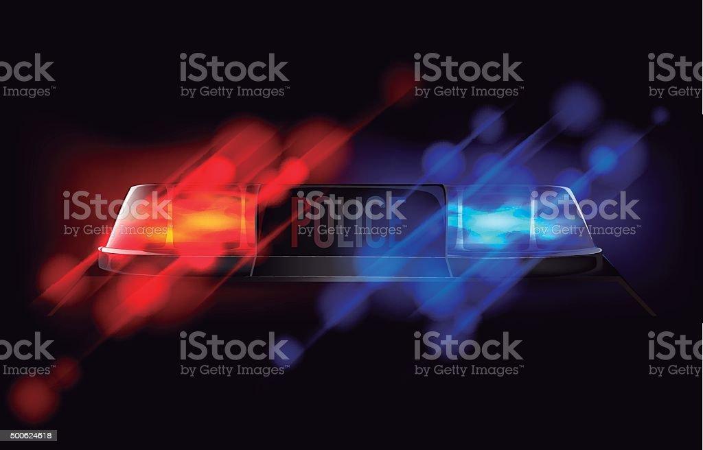 Avisador luminoso de policía. Rojo y azul sirena de emergencia intermitente. - ilustración de arte vectorial