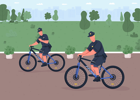 Police bicycle patrol flat color vector illustration