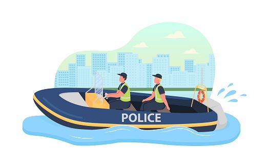 Police boat patrol 2D vector web banner, poster