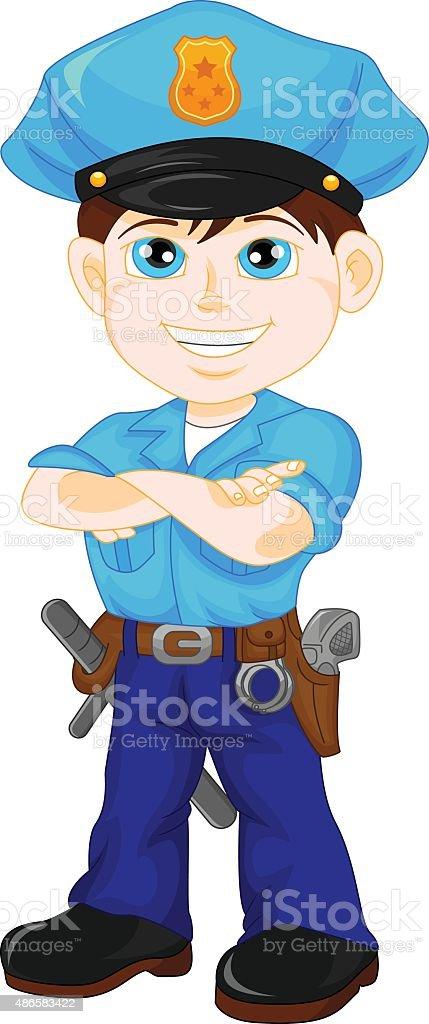 police boy posing vector art illustration