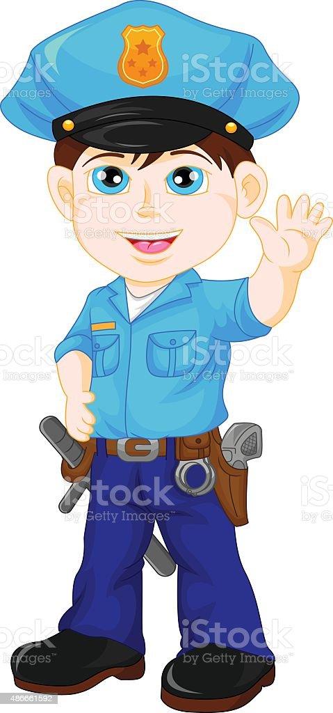 police boy waving vector art illustration