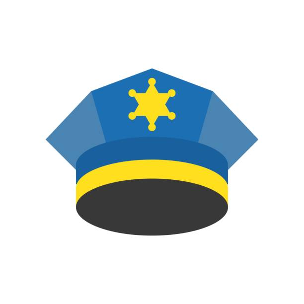 police cap, police related icon police cap, police related icon uniform cap stock illustrations
