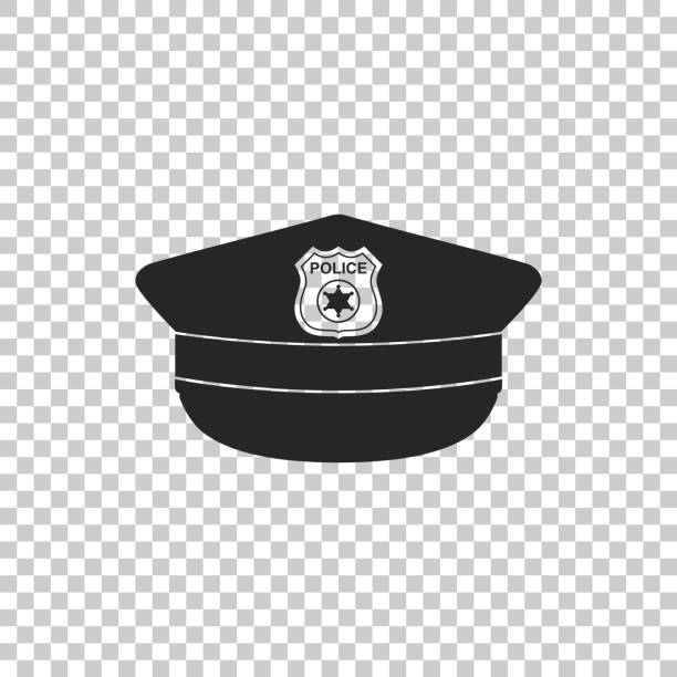 illustrazioni stock, clip art, cartoni animati e icone di tendenza di police cap with cockade icon isolated on transparent background. police hat sign. flat design. vector illustration - polizia