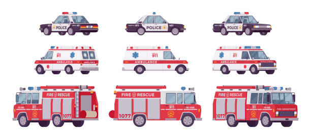 Police car, ambulance, fire truck set Police car, ambulance, fire truck set. Official city vehicle, alarm automobiles to help, protect and serve on road, urban emergency service. Vector flat style cartoon illustration on white background fire engine stock illustrations