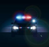 Police car at night. Realistic vector illusration