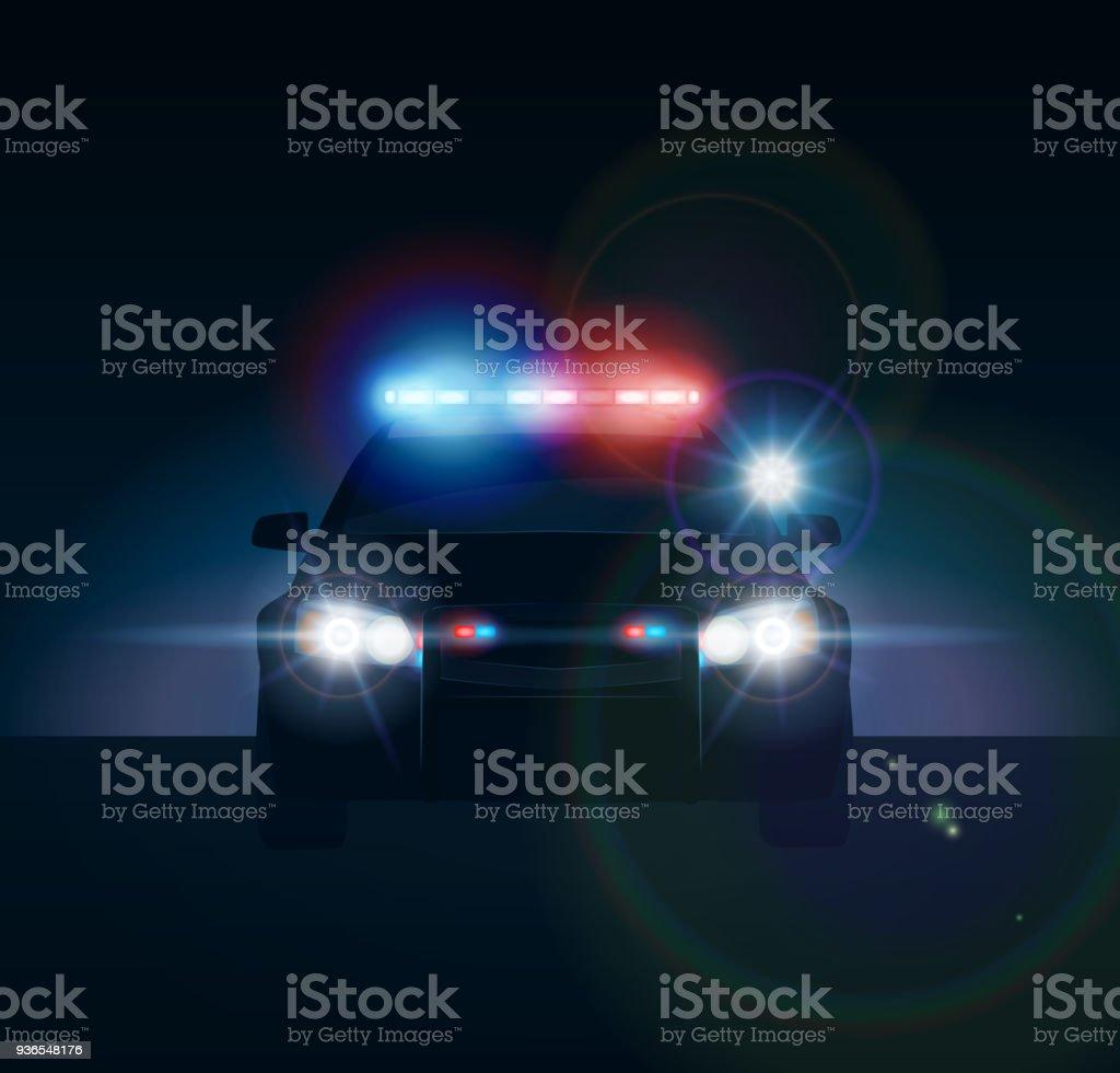 Police car at night vector art illustration