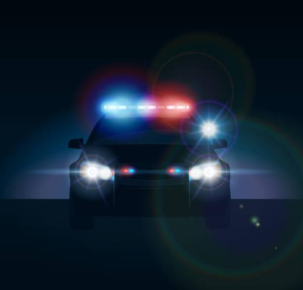 Police car at night Police car at night. Realistic vector illusration police car stock illustrations