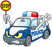 Police Car Cartoon Mascot Character Stop Sign