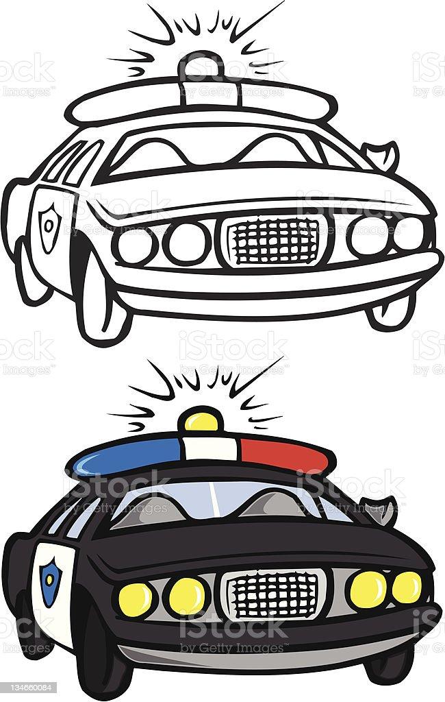 Ilustración De Coche De Policía Libro Para Colorear Y Más
