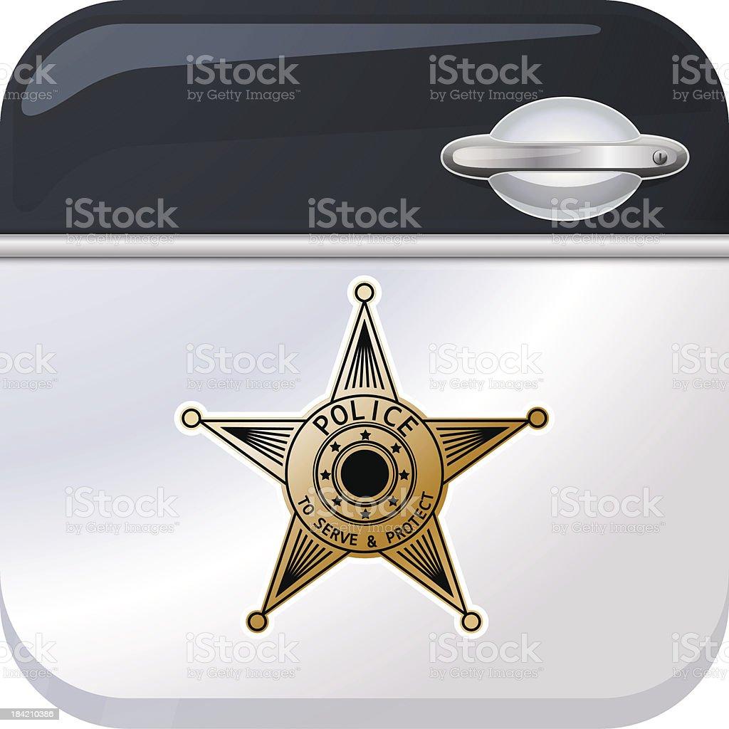 Police car door app icon royalty-free stock vector art