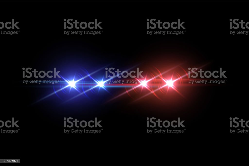 Police voiture effet flash sur fond sombre. Illustration vectorielle. - Illustration vectorielle
