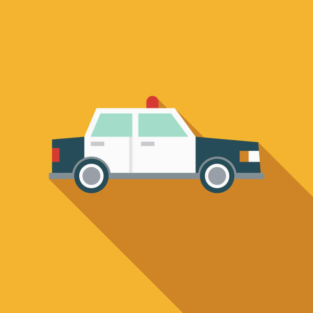 Police Car Flat Design Emergency Services Icon A flat design styled emergency services icon with a long side shadow. Color swatches are global so it's easy to edit and change the colors. police car stock illustrations