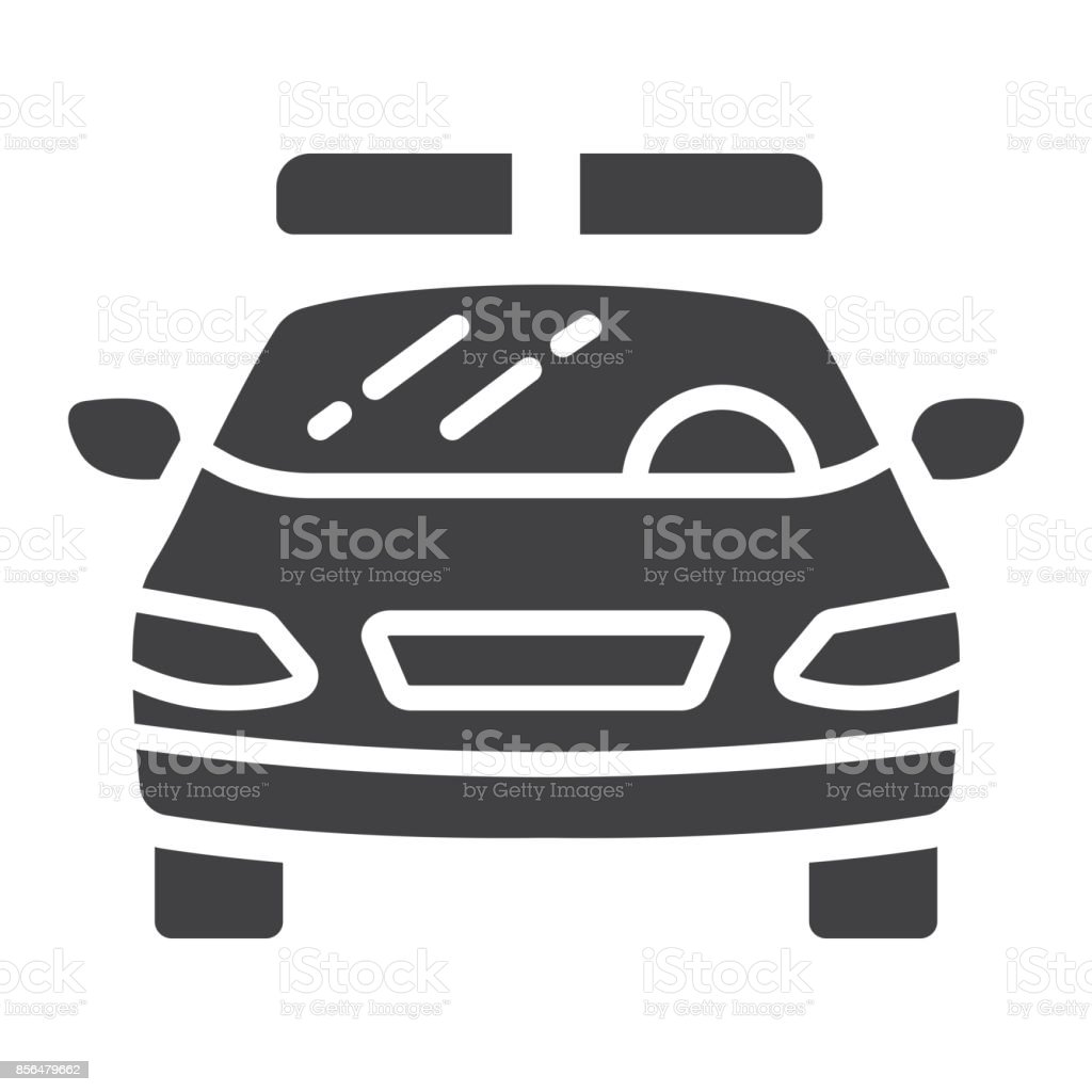 Police Car Glyph Icon Transport And Automobile Cop Sign Vector - Best automobile graphics and patterns