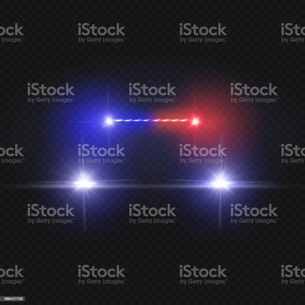 Police car headlights and blinking red siren lights isolated on transparent background vector art illustration